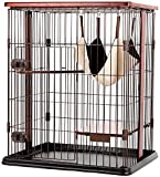 Kücheks Großer Katzenkäfig, 3 Schichten Metall Haustier Laufstall Katze Kletterrahmen Villa House mit Hängematte Massivholz Sprungplattform