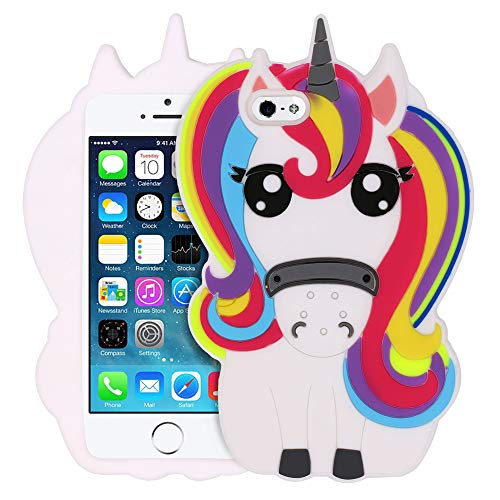 BEFOSSON 3D Cartoon Cute Unicorn Case for iPhone 5 5C 5S SE for Kid Girls Teens Women (4.0 inches), iPhone 5 5C 5S SE Funny Kawaii Rainbow Unicorn Soft Silicone Rubber Phone Cover Case (Unicorn)