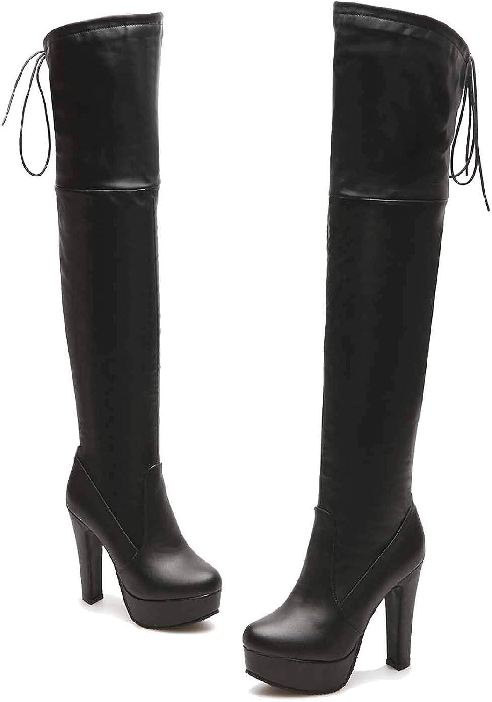 Webb Perkin Women High Boots Platform Non-Slop shoes Winter Platform High Heel Lady Over-The-Knee Boots Thigh