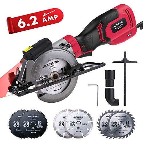 Circular Saw, Meterk 6.2A Compact Electric Circular Saw with Laser Guide, 6 Blades, Max Cutting Depth 1-9/10''(90°), 1-1/4''(0°-45°), Ideal for Wood, Soft Metal, Tile, and Plastic Cuts
