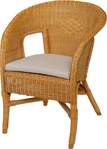 Rattan-Sessel/Stapelsessel Bella in der Farbe Honig mit Polster, aus Natur-Rattan