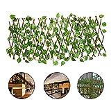 ALLPER Celosía seto con Hojas, Barrera Plegable de Mimbre para el jardín, Medidas de 194 cm x 40 a 72 cm x 64cm, Material de Primera Calidad. Valla.