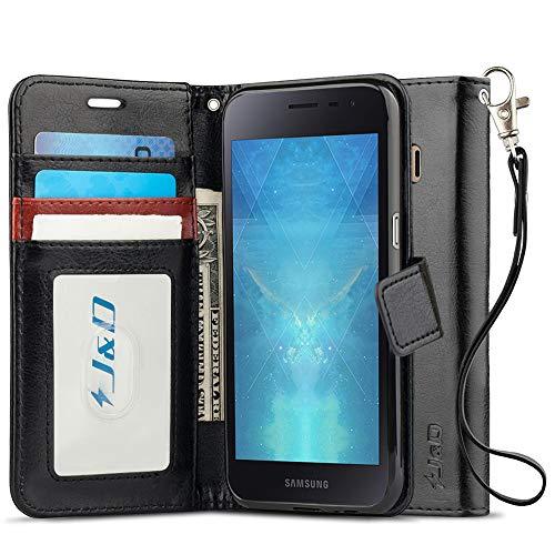 J&D Compatible pour Coque Galaxy J2 Core, [Stand de Portefeuille] Etui Portefeuille de Protection Antichoc avec Stand pour Samsung Galaxy J2 Core Housse Cuir - Noir