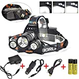 Boruit Newest!! 3X XM-L2 T6 LED Beads 10000 Lumens Headlamp 4 Modes with Rechargeable Batteries,Wall & Car Charger,USB Charging Cable for Camping,Hiking,Reading,Bike,Hunting&Fishing Lighting