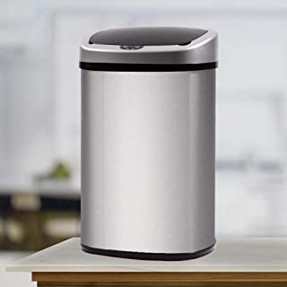 Kitchen Trash Can Stainless Steel Metal Garbage Can with Lid Automatic Touch Free Sensor Waste Bin for Barthroom Office Be...