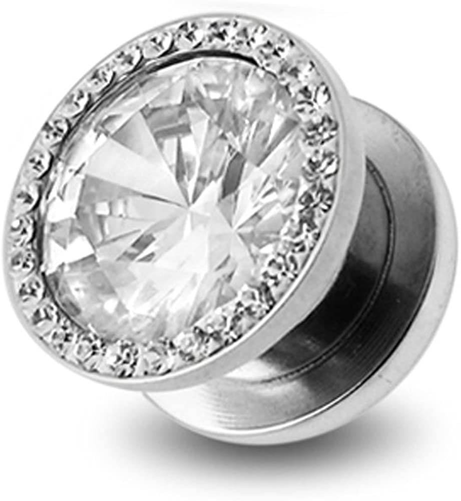 AtoZ Piercing Round CZ Stone with Multi Crystal 316L Surgical Steel Flesh Tunnel - Sold by Piece