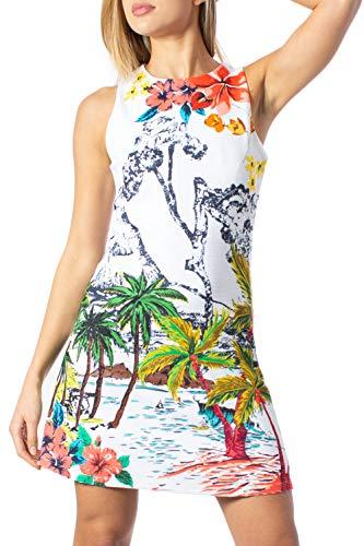 Desigual - Vestido sin mangas de verano para mujer Tropical