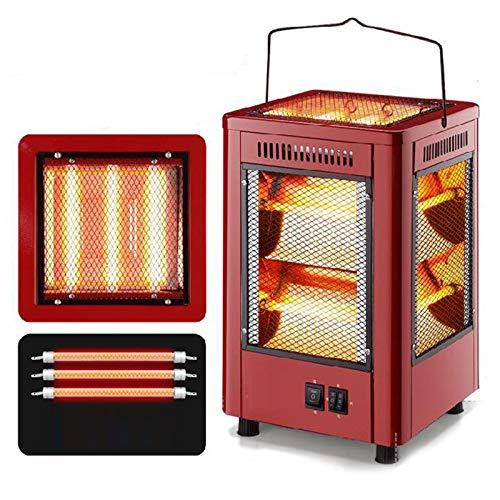 DUTUI Elektrische Außenheizung, Fünfeckige Heizung, Automatischer Elektrischer Drehofentisch, Tragbare Elektrische Außenheizung,Rot