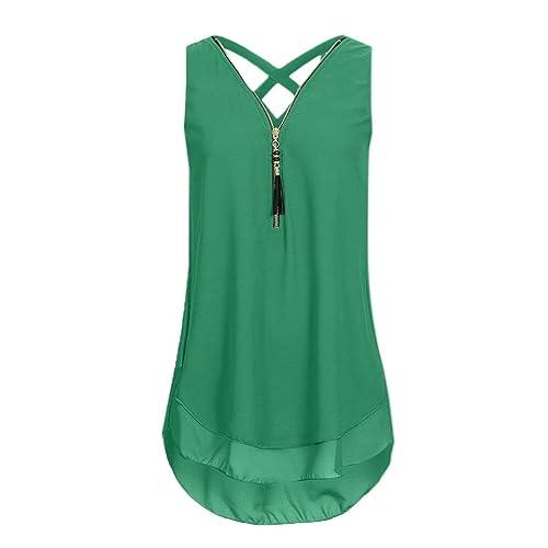 7cdf6885e4fcb CUCUHAM Women Loose Sleeveless Cross Back Hem Layed Zipper V-Neck T Shirts  Tops