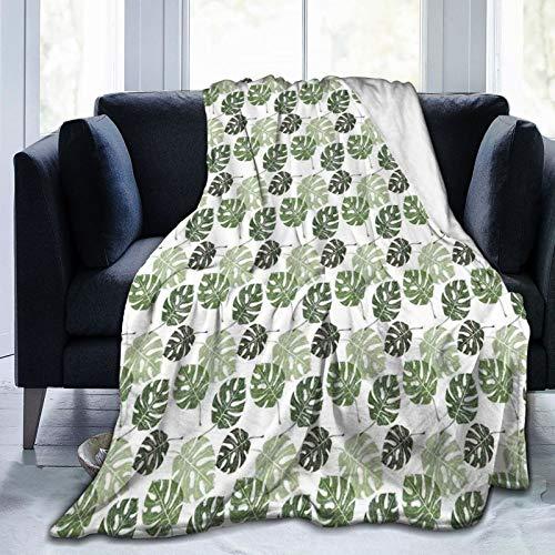 KOSALAER Bedding Manta,Monstera Tropical Jungle Foliage Hawaiian Nature Growth Hojas incompletas Medio Ambiente Eco,Mantas cálidas de Sala de Estar/Dormitorio Ultra Suaves para Todas Las Estaciones