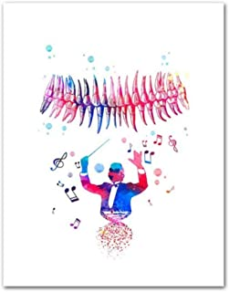 Teeth Watercolor Print Dental Art Dentist Poster Human Teeth Anatomy Stomatology Decor Clinic Wall Decor Doctor Gift-50x60cm-No Frame