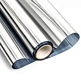 Mangobox One Way Window Film Non Adhesive Mirror Reflective Privacy Window Film Static Cling Glass Tinting for Home Office Window Covering Heat Control UV Blocking Silver(17.7x78.7 inches)