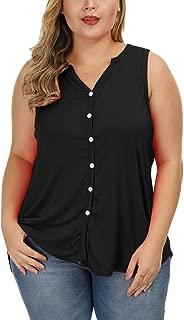 Allegrace Plus Size Tank Tops Women Summer Button Down Shirts Casual Sleeveless V Neck Tanks