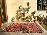 RAJRANG BRINGING RAJASTHAN TO YOU Colorida Alfombra Boho - 150x215 cm Alfombras Chindi de Raso Decorativo Hechas a Mano Indias Hechas a Mano Decoración étnica de Rajasthan - Multicolor