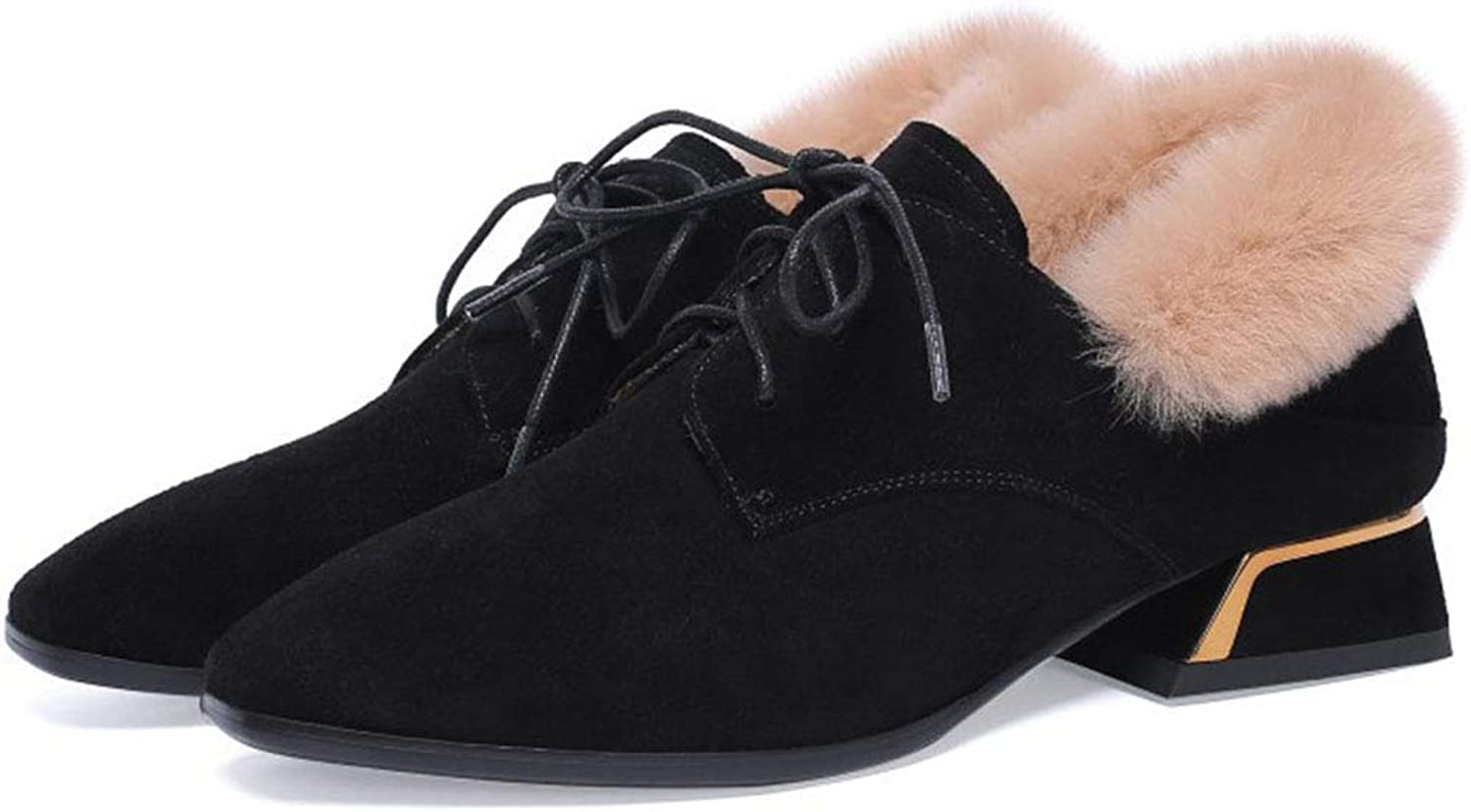 Women's Martin Boots Autumn and Winter Plus Velvet Warm Pointed Ankle Boots Casual shoes