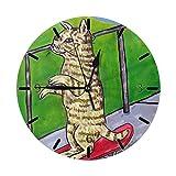 Mailine Skateboard Pittura Gatto Arte Sveglia Mini a Tema Motivo Stampato Orologio da Parete Soggiorno Letto Sala da Pranzo Dormitorio Scrivania per la casa Non Tickin