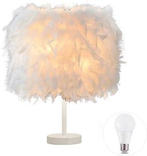 1 paquete de lámpara de mesa de plumas Lámpara de mesilla de noche Lámpara de mesa de luz Base blanca con bombilla de 3W para sala de estar, dormitorio, decoración del hogar, S