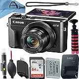 Câmera digital Canon PowerShot G7 X Mark II Sensor de 20.1 MP com cartão de memória SanDisk de 64 GB, tripé e pacote de acessórios de célula A (preto)