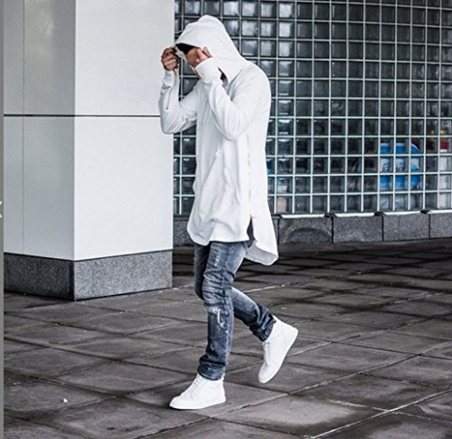 Bopstyle Mens Hipster Hip Hop Classic Pullover Long Zipper Hoodie Sweatshirts Jacket (S, Pure Black)