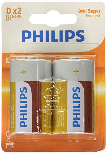 Oferta de PHILIPS AUDIO LongLife - Pila R20 D, pack 2-blister, colores aleatorios, blanco, verde
