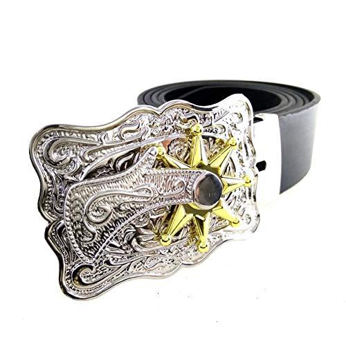 WDYDDW Cinturón Hombre Western Cowboy Leather Men Belt Hebilla De Metal Turnable Cowboy Spurs