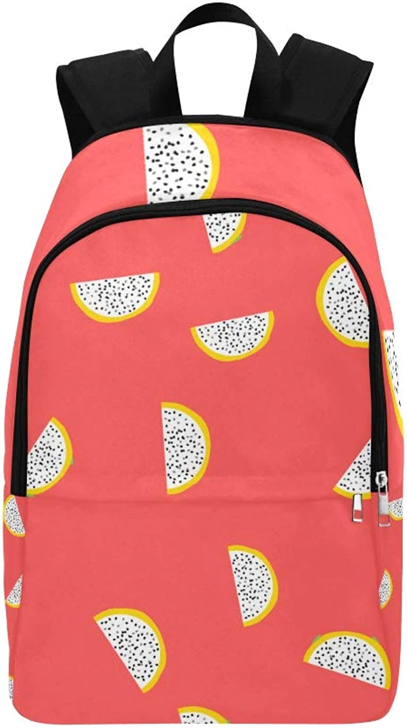 Hand Drawn Watercolor Dragon Fruits Casual Daypack Travel Bag College School Backpack for Mens and Women
