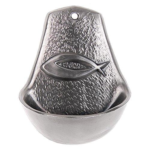 Motivationsgeschenke Weihwasserkessel Fisch Metall silberlegiert 8,5 cm Weihwasserbecken