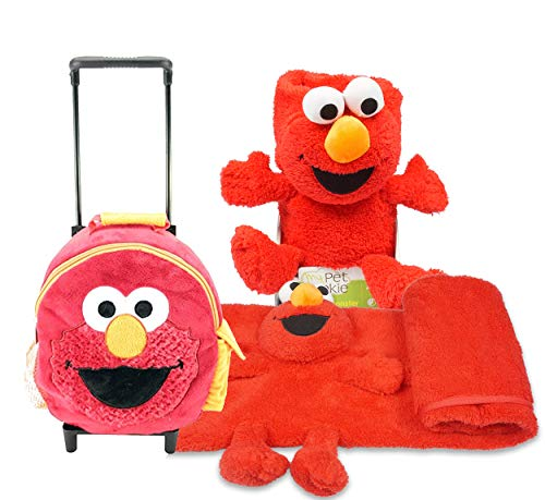 Sesame Street Elmo Toddler Sized Preschool, Overnight, Carry On Plush Roller Backpack with Matching Blanket Security Blanket!