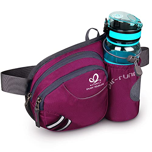 WATERFLY Hiking Waist Bag Fanny Pack with Water Bottle Holder for Men Women Running & Dog Walking Fit All Phones (Bottle Not...