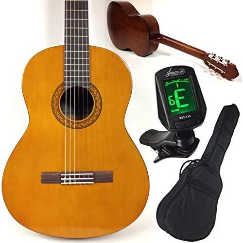 Yamaha C40 - Set per principianti con chitarra classica da concerto, accordatore sfq24 con schermo LED, custodia, tracolla e 3 plettri, set completo, ideale per principianti