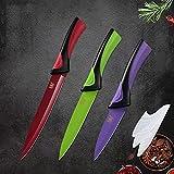 Cuchillo de cocina de acero inoxidable set de las opciones de seis colores ABS + TPR Manejar cuchillas afiladas cuchillas de carne de pescado de carne de fruta Herramientas de cocción (Color : A.)