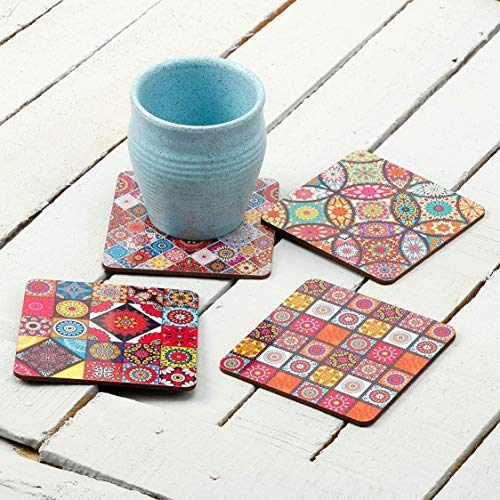 SataanReaper Presents Printed Poker Design Wooden Coasters For Tea Coffee (Set Of 4, 4X4 Inch) (Redabstracts) #SR-368