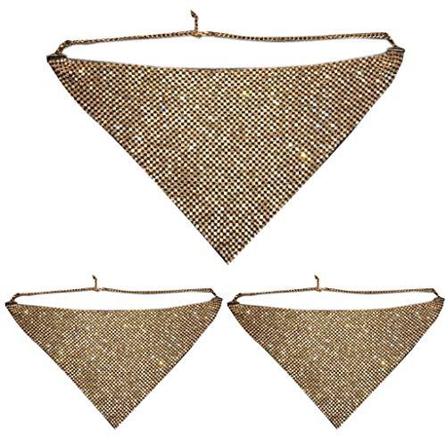 Generisch Tshopm 1/3Pcs Women Multicolored Glitter Rhinestone Mesh Imitation Crystal Chain Triangle Cover Masquerade Nightclub Ball Party Jewelry Necklace