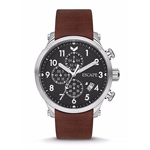 Escape Lukla Herren-Armbanduhr, 44 mm, Chronograph, silberfarbenes Gehäuse auf braunem Lederarmband