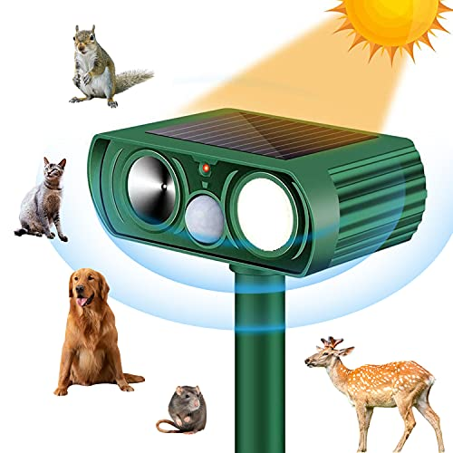 Shootingstar Ultrasonic Solar Animal Repeller, Outdoor Solar Deer Repellent Devices Waterproof Motion Sensor Squirrel Cat Chipmunk Raccoon Repellent for Yard