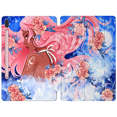 Lex Altern Case Compatible with Samsung Tab A 10.1 2019 2020 S7 S6 Lite 10.5 S5e S4 S3 S2 9.7 inch A 8.0 A7 10.4 Japanese Clear Slim Smart Cover Auto Wake/Sleep Blue Anime Girl Cute Korean Floral