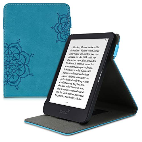 kwmobile Schutzhülle kompatibel mit Tolino Shine 3 - Hülle e-Reader mit Schlaufe Ständer - - Blumen Zwillinge Dunkelblau