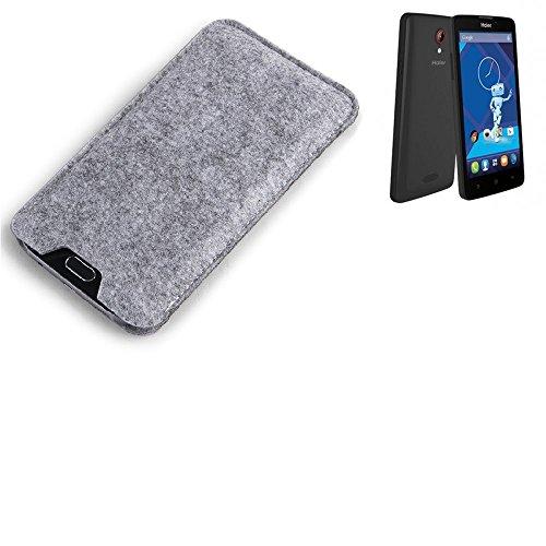 K-S-Trade® Filz Schutz Hülle Für Haier Phone L52 Schutzhülle Filztasche Filz Tasche Case Sleeve Handyhülle Filzhülle Grau