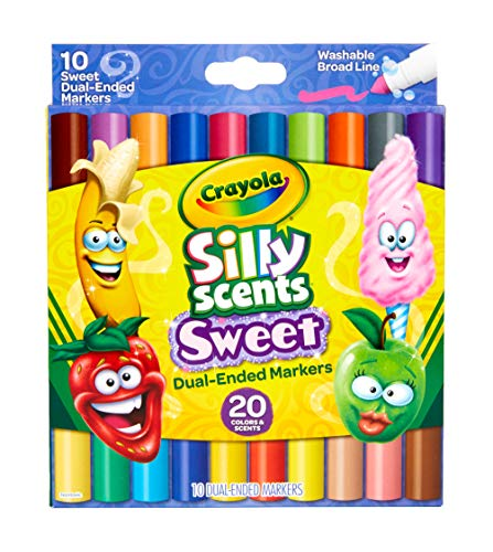 Crayola Silly Scents Dual Ended Markers, Sweet Scented Markers, 10 Count, Gift for Kids, Age 3, 4, 5, 6