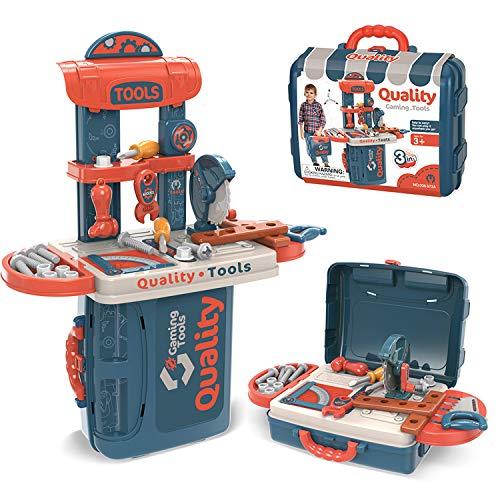 Dreamon 3 IN 1 RollenspielKinder Werkzeugkoffer Werkbank, DIY Spielzeug Set Geschenke ab 3,4,5 Jahren für Jungen Mädchen