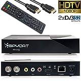 Spycat Mini V2 Digital HDTV E2 Linux Twin Sat-Receiver mit DVB-S2 Tuner, 1080P Full-HD, HDMI, WLAN integriert, 2X USB, IPTV, für Satellite, EPG [vorprogrammiert für Astra & Hotbird] mit HDMI Kabel