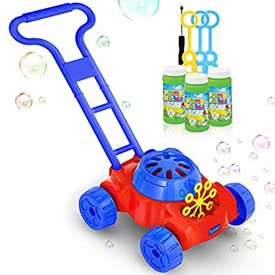 Bubbart Bubble Lawn Mower Automatic Bubble Machine For Kids Outdoor Toy For Toddlers [ 2020 Newest ] Lot of Fun for your Kids Included 3 Bottle Of Bubble Solution and 3 Blowers Sticks Color Blue & Red by Bubbart