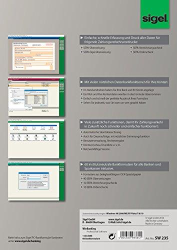 Sigel SW235 WinBanking Professional, Software für Bankformular-Management, inkl. 60 Bankformulare – auch für SEPA - 9