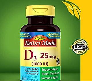 Nature Made 維生素 D3 1000 iu,大碼,650 粒軟膠囊