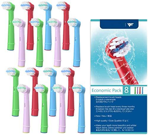 Kids Elektrische Zahnbürste Köpfe , Ersatzbürstenköpfe Kids Brain Zahnbürste Köpfe Kompatibel für Empfindliche Saubere, Professionelle Pflege, Erweiterte Power, Floss Aktion, Pack von 16
