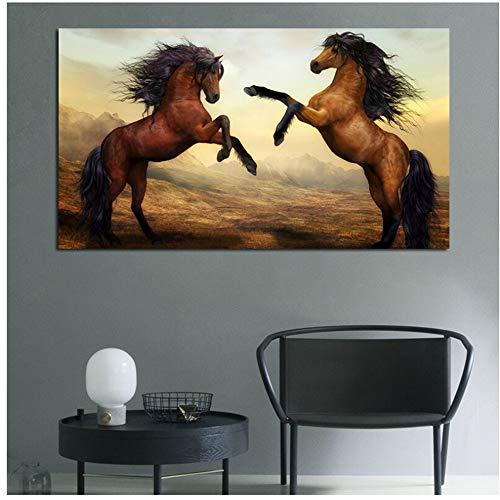 Cartel de arte de pared decoración caballo pintura amor de animal impresión en lienzo imagen de paisaje para sala de estar decoración del hogar 30x50cm (12x20in)