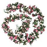 CESUO 2Pcs Artificial Rose Flower Floral Fake Vine Hanging Garland Party Wedding Decor