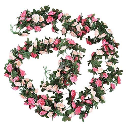 Cuasting Guirnalda de flores artificiales para colgar en fiestas, bodas, 2 unidades