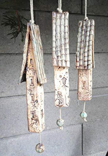 3 Keramik Windspiel Klangstäbe Glocken Winter