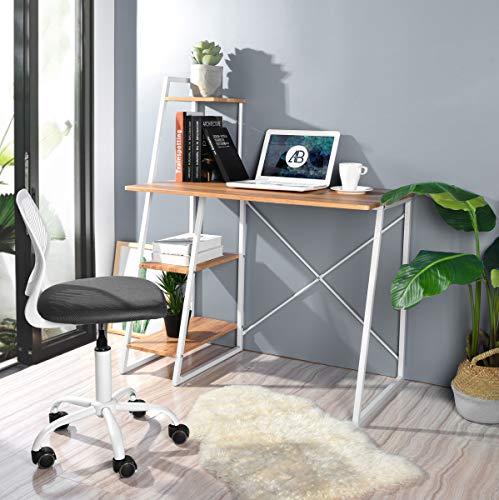 FurnitureR Scrivanie per Computer, postazioni di Lavoro per PC salvaspazio Scrivania con Ripiani per Home Office (Pouchu)